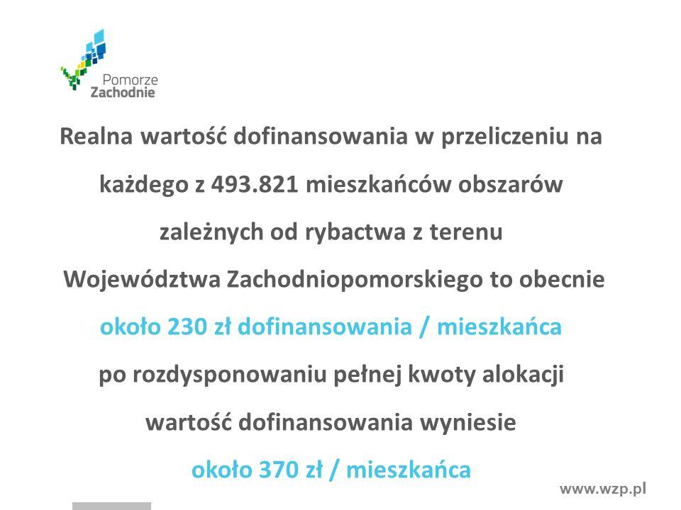 www.wzp.p l Realna wartość dofinansowania w przeliczeniu na każdego z 493.821 mieszkańców obszarów zależnych od rybactwa z terenu Województwa Zachodniopomorskiego to obecnie około 230 zł dofinansowania / mieszkańca po rozdysponowaniu pełnej kwoty alokacji wartość dofinansowania wyniesie około 370 zł / mieszkańca