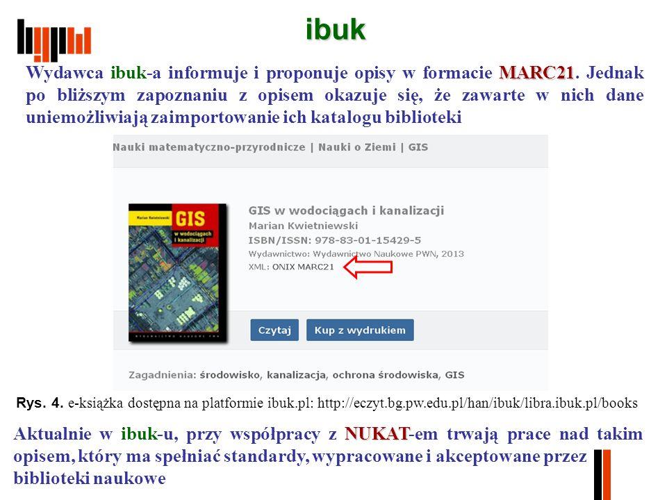 ibuk MARC21 Wydawca ibuk-a informuje i proponuje opisy w formacie MARC21.
