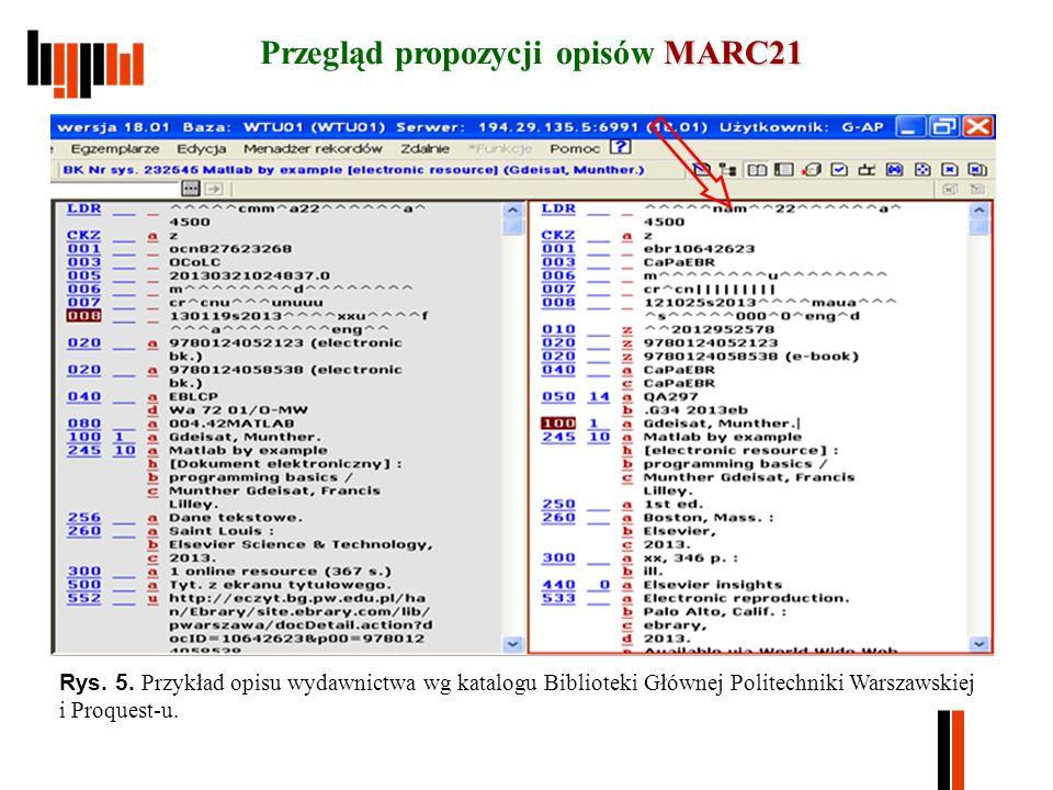 MARC21 Przegląd propozycji opisów MARC21 Rys. 5.