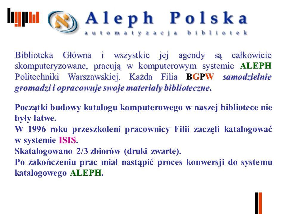 Biblioteka Główna i wszystkie jej agendy są całkowicie skomputeryzowane, pracują w komputerowym systemie ALEPH Politechniki Warszawskiej.