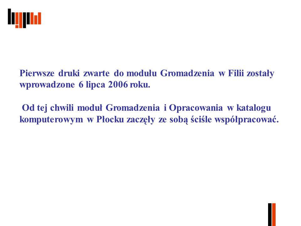 Pierwsze druki zwarte do modułu Gromadzenia w Filii zostały wprowadzone 6 lipca 2006 roku.