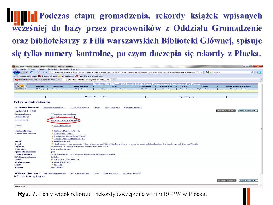 Podczas etapu gromadzenia, rekordy książek wpisanych wcześniej do bazy przez pracowników z Oddziału Gromadzenie oraz bibliotekarzy z Filii warszawskich Biblioteki Głównej, spisuje się tylko numery kontrolne, po czym doczepia się rekordy z Płocka.