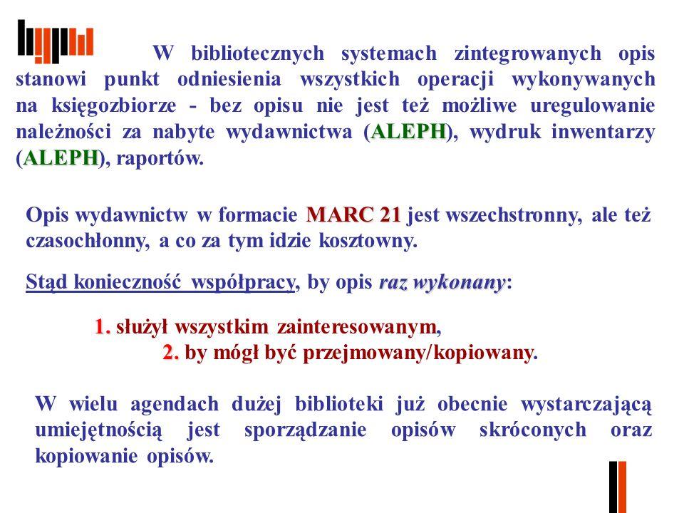 MARC 21 Opis wydawnictw w formacie MARC 21 jest wszechstronny, ale też czasochłonny, a co za tym idzie kosztowny.