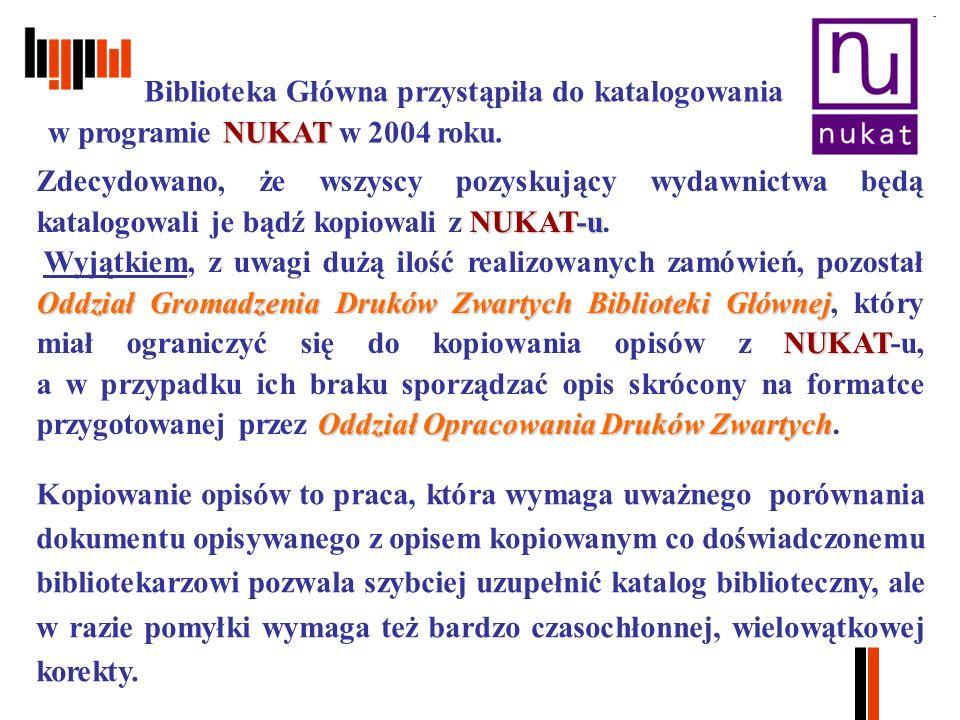 NUKAT Biblioteka Główna przystąpiła do katalogowania w programie NUKAT w 2004 roku.