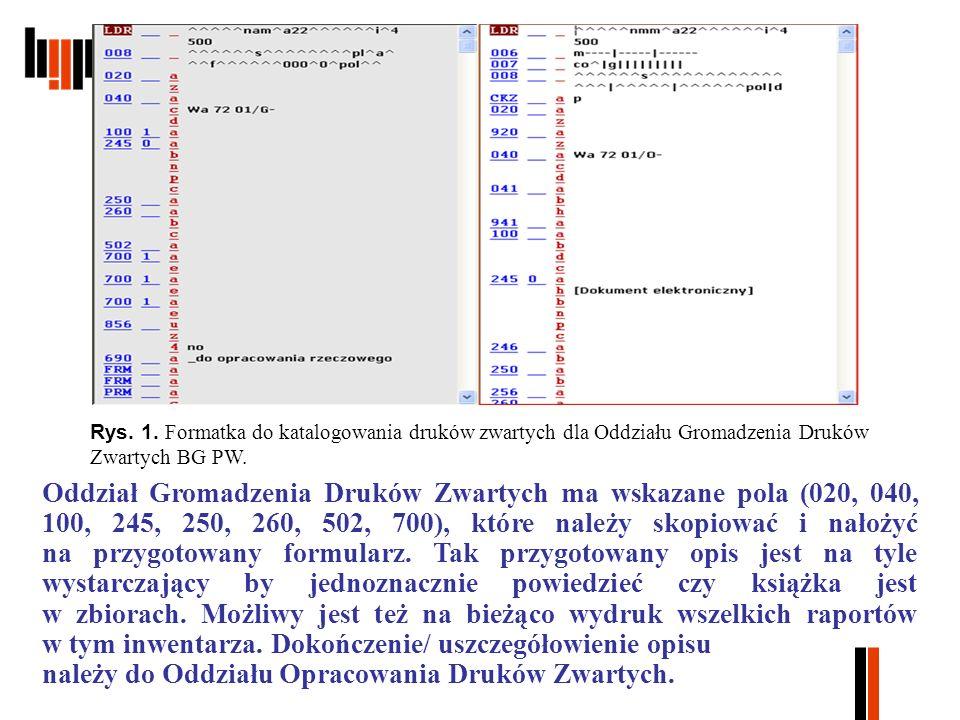 Rys. 1. Formatka do katalogowania druków zwartych dla Oddziału Gromadzenia Druków Zwartych BG PW.