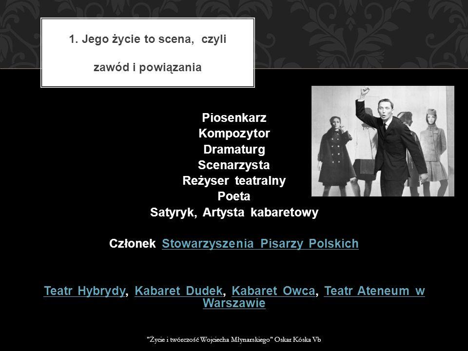 Piosenkarz Kompozytor Dramaturg Scenarzysta Reżyser teatralny Poeta Satyryk, Artysta kabaretowy Członek Stowarzyszenia Pisarzy PolskichStowarzyszenia