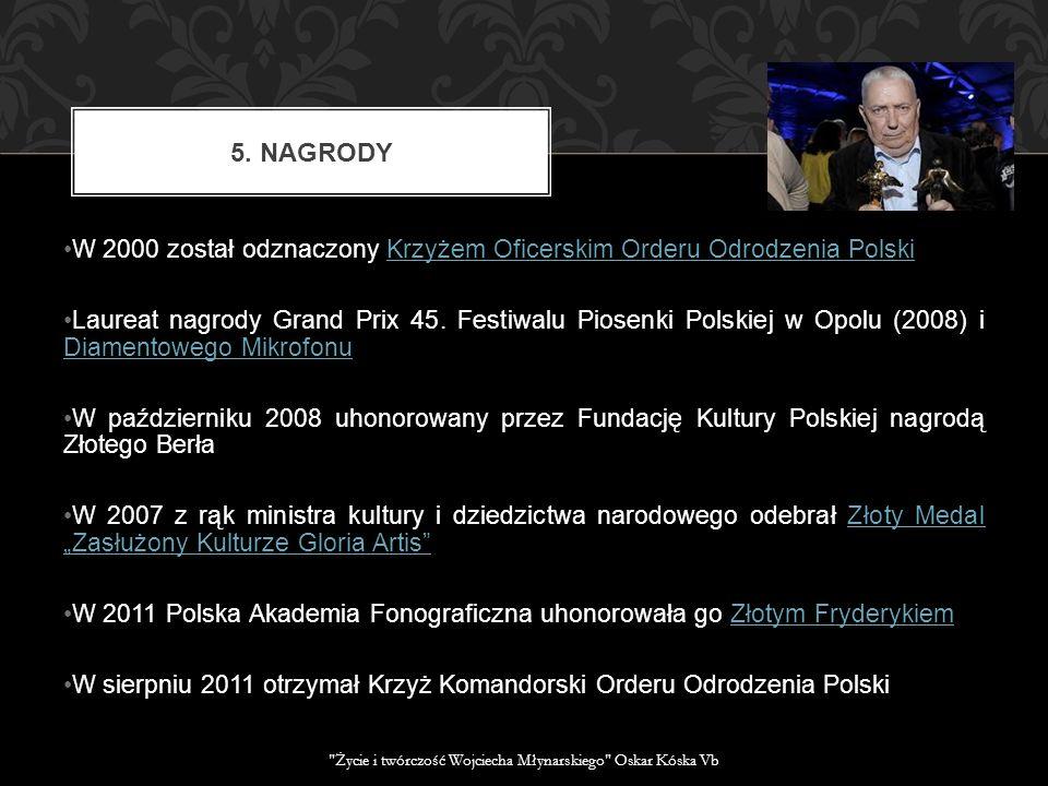 W 2000 został odznaczony Krzyżem Oficerskim Orderu Odrodzenia PolskiKrzyżem Oficerskim Orderu Odrodzenia Polski Laureat nagrody Grand Prix 45. Festiwa