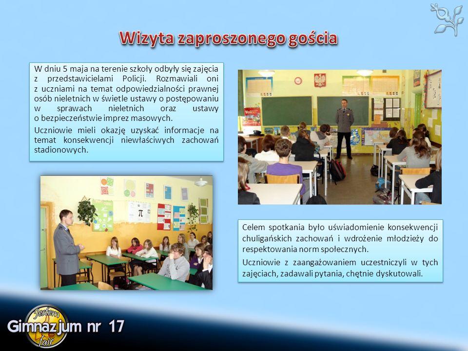 W dniu 5 maja na terenie szkoły odbyły się zajęcia z przedstawicielami Policji.