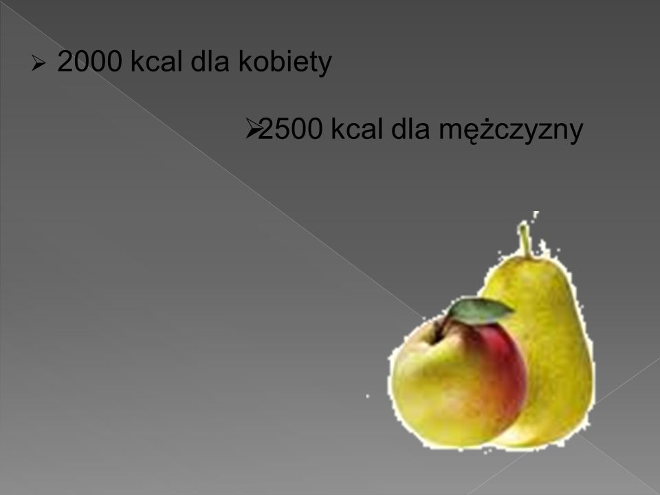  2000 kcal dla kobiety  2500 kcal dla mężczyzny