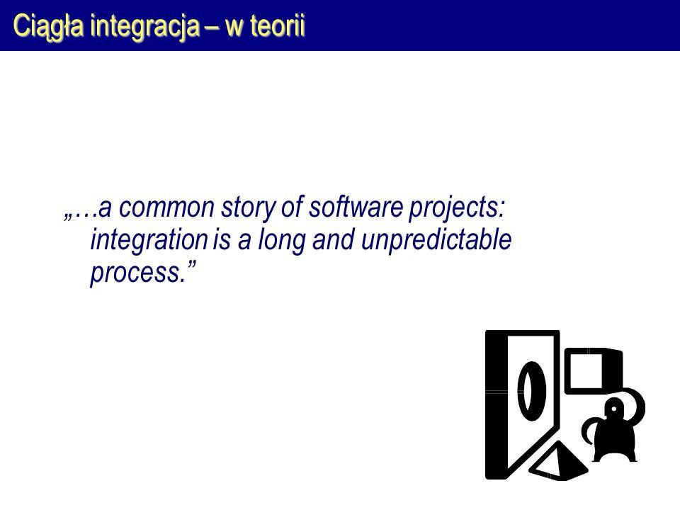 Ciągła integracja – w praktyce Pełna integracja (Maven): 1.Pełna rekompilacja całego kodu źródłowego (clean, compile) 2.Stworzenie uruchamialnej postaci systemu i uruchomienie go w środowisku testowym (test, build, install, … 1 ) 3.Uruchomienie wszystkich testów automatycznych (… 2 ) Np.: 1 Stworzenie pliku WAR, uruchomienie go na testowym serwerze aplikacji 2 Uruchomienie testów akceptacyjnych/integracyjnych napisanych przy pomocy JWebUnit, …