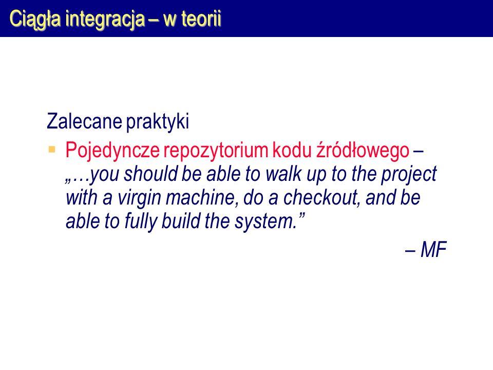 Ciągła integracja – w praktyce Typowa architektura: Programista Serwer VCS Serwer informacyjny Serwer testowy Serwer integracyjny
