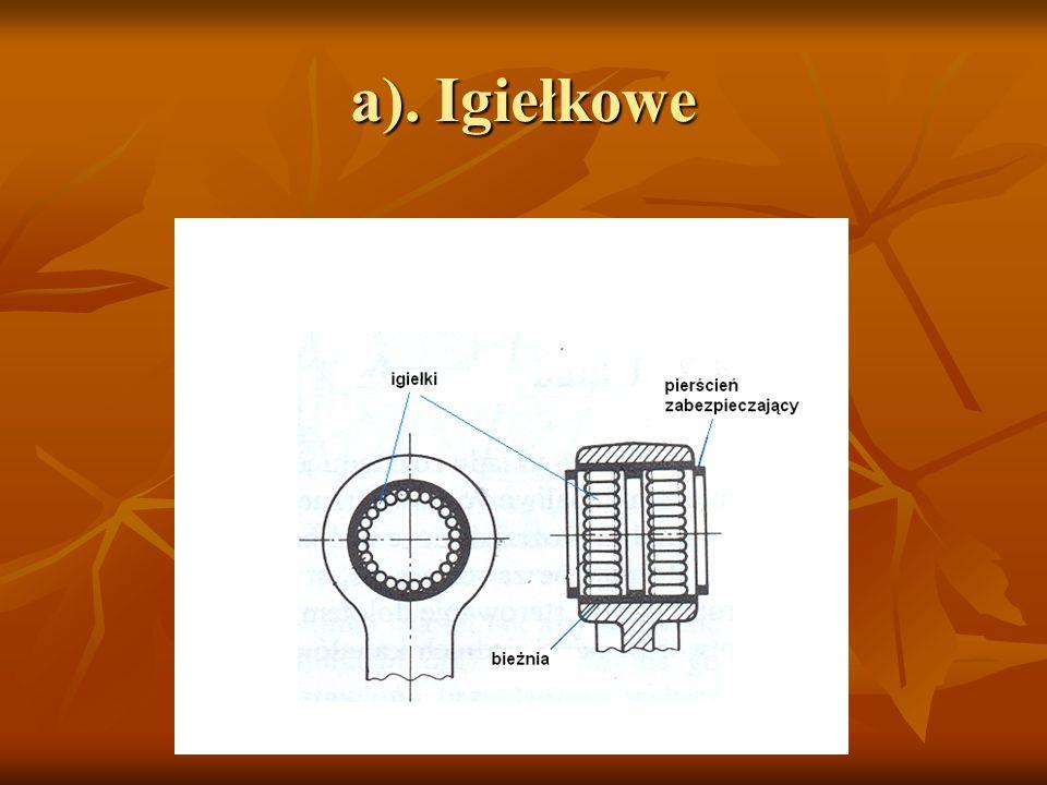 b). kulkowe lub wałeczkowe (rolkowe)