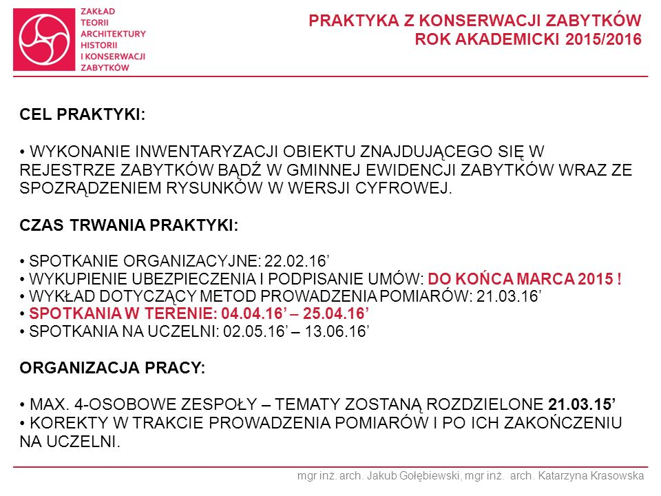 mgr inż. arch. Jakub Gołębiewski, mgr inż. arch.