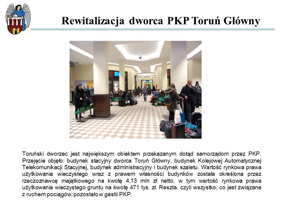 Toruński dworzec jest największym obiektem przekazanym dotąd samorządom przez PKP. Przejęcie objęło: budynek stacyjny dworca Toruń Główny, budynek Kol