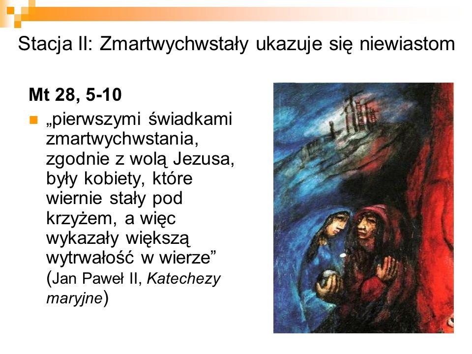 """Stacja II: Zmartwychwstały ukazuje się niewiastom Mt 28, 5-10 """"pierwszymi świadkami zmartwychwstania, zgodnie z wolą Jezusa, były kobiety, które wiernie stały pod krzyżem, a więc wykazały większą wytrwałość w wierze ( Jan Paweł II, Katechezy maryjne )"""