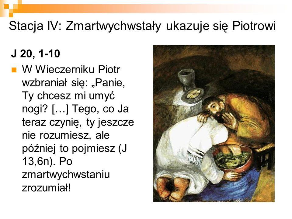 Stacja V: Zmartwychwstały dołącza do uczniów idących do Emaus Łk 24, 13-27 W drodze do Emaus ma miejsce stopniowe odkrywanie tajemnicy paschalnej poprzez dialog, słowo Boże i napomnienie, które prowadzą do spotkania.
