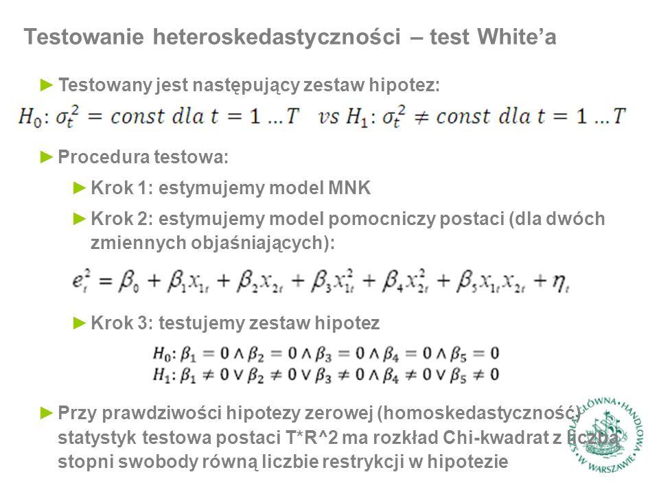 Testowanie heteroskedastyczności – test White'a ►Procedura testowa: ►Krok 1: estymujemy model MNK ►Krok 2: estymujemy model pomocniczy postaci (dla dwóch zmiennych objaśniających): ►Testowany jest następujący zestaw hipotez: ►Krok 3: testujemy zestaw hipotez ►Przy prawdziwości hipotezy zerowej (homoskedastyczność) statystyk testowa postaci T*R^2 ma rozkład Chi-kwadrat z liczbą stopni swobody równą liczbie restrykcji w hipotezie