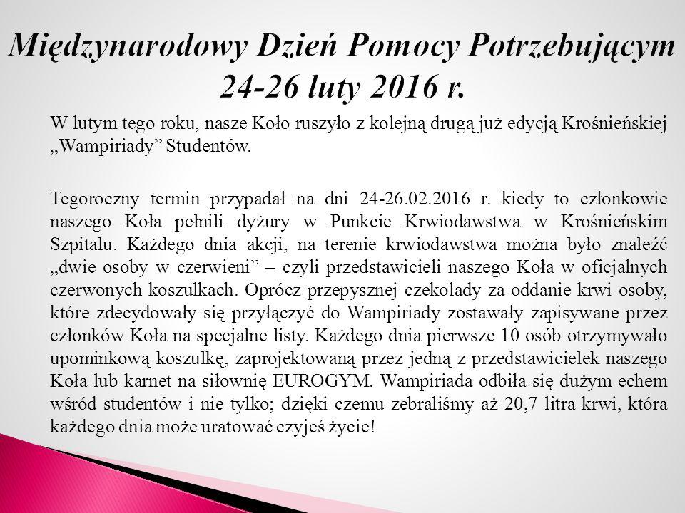 """W lutym tego roku, nasze Koło ruszyło z kolejną drugą już edycją Krośnieńskiej """"Wampiriady Studentów."""