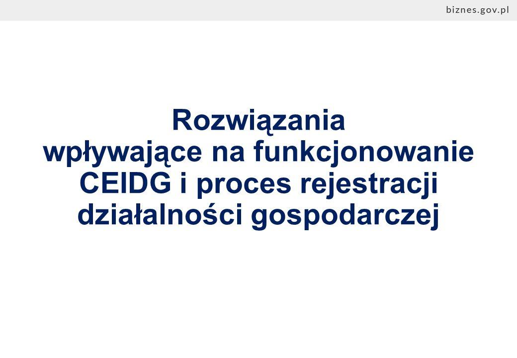 Rozwiązania wpływające na funkcjonowanie CEIDG i proces rejestracji działalności gospodarczej