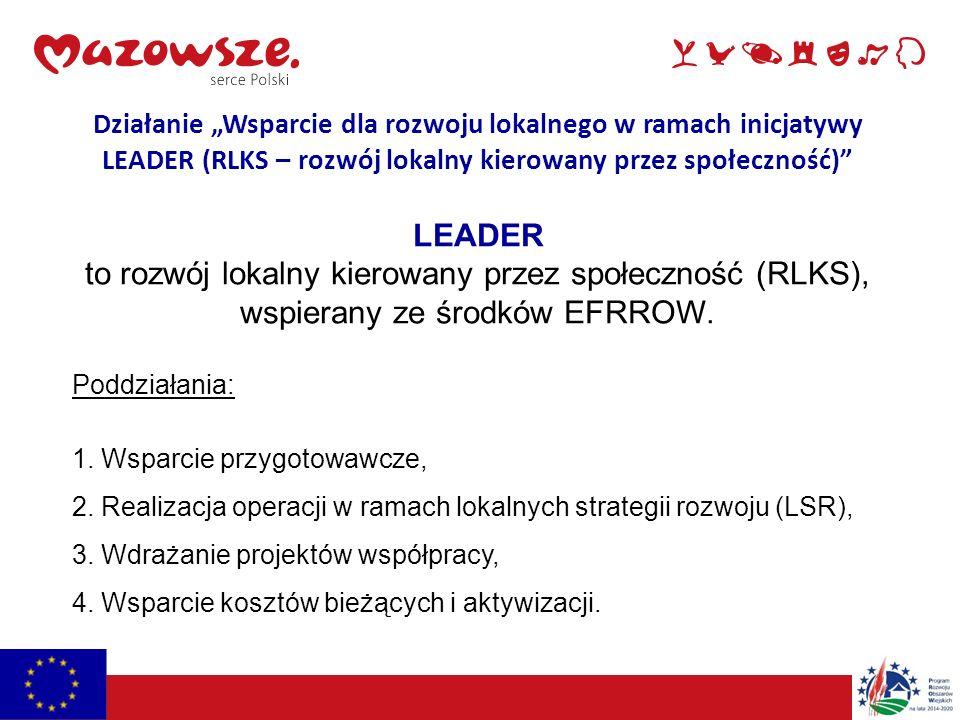 """Działanie """"Wsparcie dla rozwoju lokalnego w ramach inicjatywy LEADER (RLKS – rozwój lokalny kierowany przez społeczność) LEADER to rozwój lokalny kierowany przez społeczność (RLKS), wspierany ze środków EFRROW."""