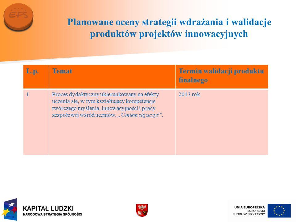 Planowane oceny strategii wdrażania i walidacje produktów projektów innowacyjnych c.d.