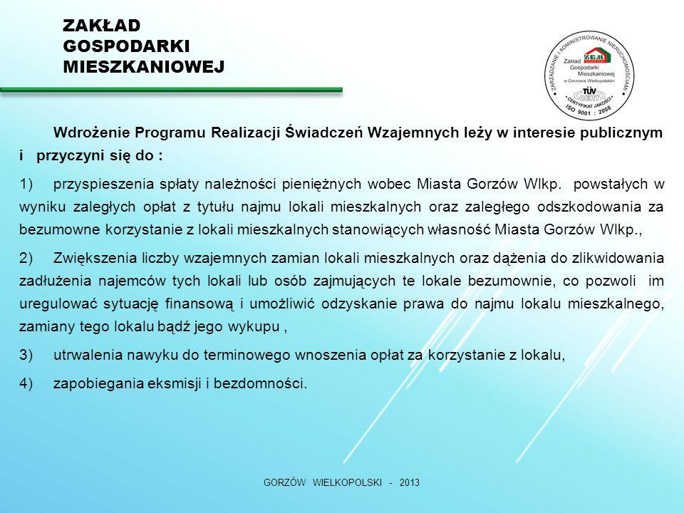 ZAKŁAD GOSPODARKI MIESZKANIOWEJ GORZÓW WIELKOPOLSKI - 2013 DZIĘKUJEMY ZA UWAGĘ Nasza witryna internetowa:www.zgm.gorzow.pl