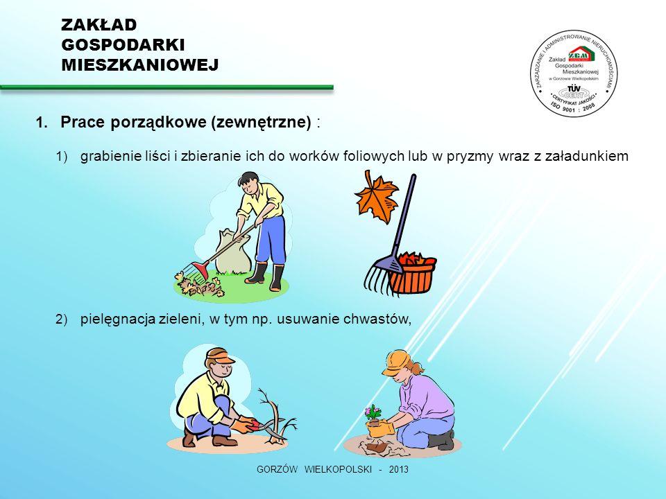 ZAKŁAD GOSPODARKI MIESZKANIOWEJ 3) oczyszczenie terenu z zalegających nieczystości, odśnieżanie ręczne, 4) likwidacja dzikich wysypisk, GORZÓW WIELKOPOLSKI - 2013