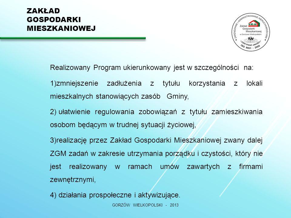 ZAKŁAD GOSPODARKI MIESZKANIOWEJ GORZÓW WIELKOPOLSKI - 2013 Realizowany Program ukierunkowany jest w szczególności na: 1)zmniejszenie zadłużenia z tytułu korzystania z lokali mieszkalnych stanowiących zasób Gminy, 2) ułatwienie regulowania zobowiązań z tytułu zamieszkiwania osobom będącym w trudnej sytuacji życiowej, 3)realizację przez Zakład Gospodarki Mieszkaniowej zwany dalej ZGM zadań w zakresie utrzymania porządku i czystości, który nie jest realizowany w ramach umów zawartych z firmami zewnętrznymi, 4) działania prospołeczne i aktywizujące.