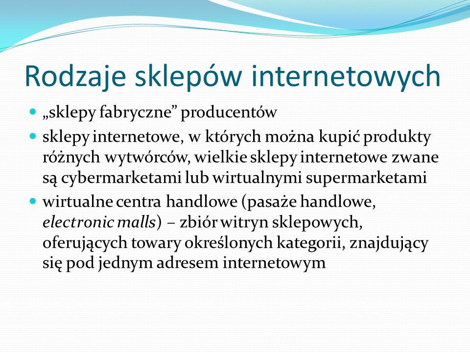 """Rodzaje sklepów internetowych """"sklepy fabryczne"""" producentów sklepy internetowe, w których można kupić produkty różnych wytwórców, wielkie sklepy inte"""