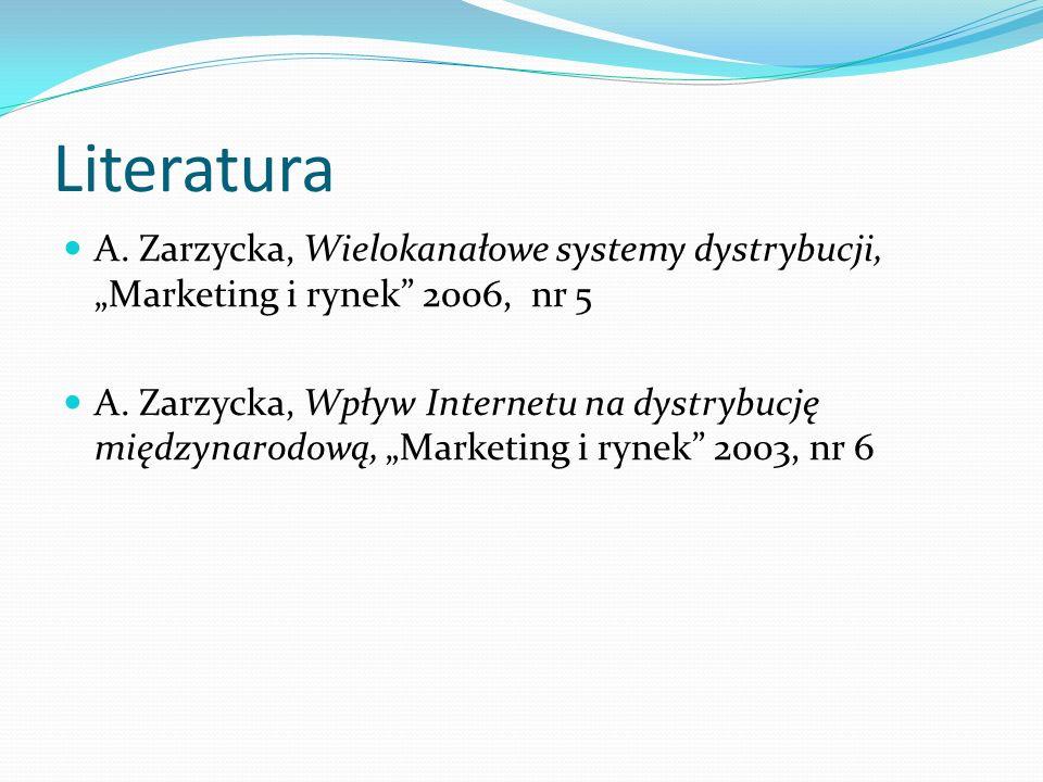 """Literatura A. Zarzycka, Wielokanałowe systemy dystrybucji, """"Marketing i rynek"""" 2006, nr 5 A. Zarzycka, Wpływ Internetu na dystrybucję międzynarodową,"""