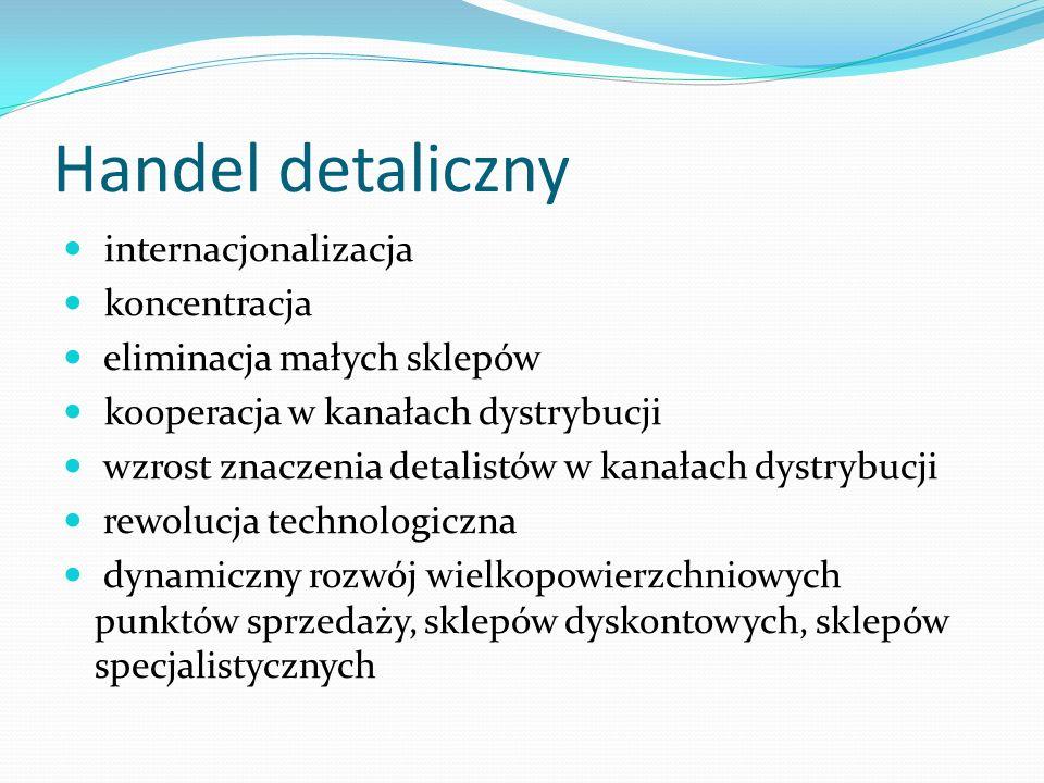 Handel detaliczny internacjonalizacja koncentracja eliminacja małych sklepów kooperacja w kanałach dystrybucji wzrost znaczenia detalistów w kanałach