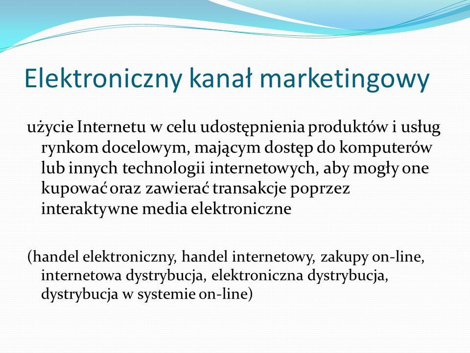 Zmiana struktury kanału marketingowego eliminacja tradycyjnych pośredników, nowi pośrednicy, firmy działające na rynku dotychczas jako pośrednicy także wchodzą na rynek internetowy