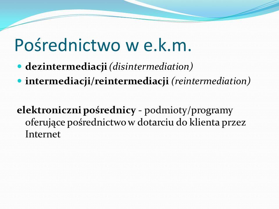 Pośrednictwo w e.k.m. dezintermediacji (disintermediation) intermediacji/reintermediacji (reintermediation) elektroniczni pośrednicy - podmioty/progra