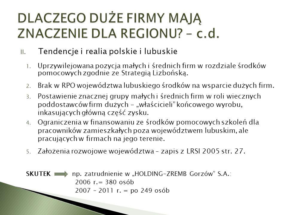 II. Tendencje i realia polskie i lubuskie 1. Uprzywilejowana pozycja małych i średnich firm w rozdziale środków pomocowych zgodnie ze Strategią Lizboń