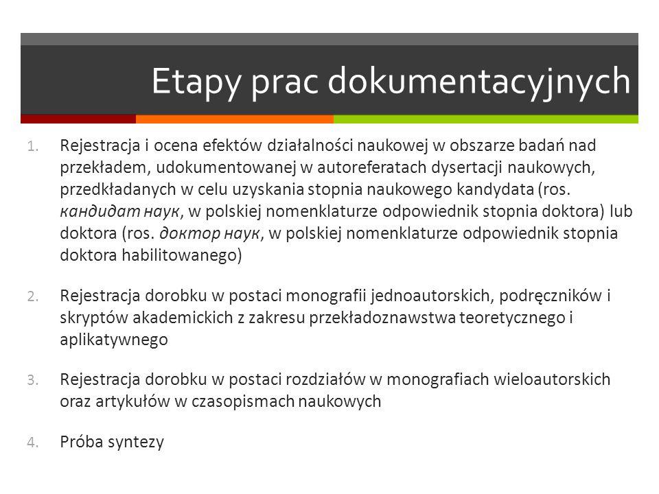 Etapy prac dokumentacyjnych 1. Rejestracja i ocena efektów działalności naukowej w obszarze badań nad przekładem, udokumentowanej w autoreferatach dys