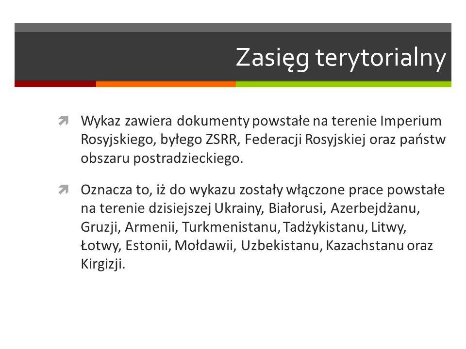 Zasięg terytorialny  Wykaz zawiera dokumenty powstałe na terenie Imperium Rosyjskiego, byłego ZSRR, Federacji Rosyjskiej oraz państw obszaru postradz