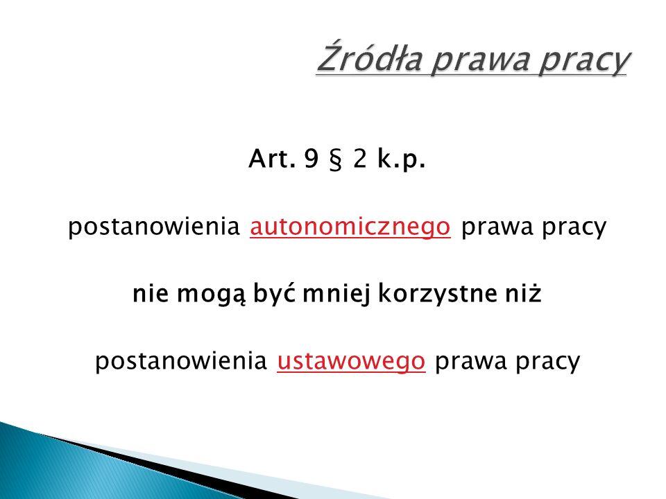 Art. 9 § 2 k.p. postanowienia autonomicznego prawa pracy nie mogą być mniej korzystne niż postanowienia ustawowego prawa pracy