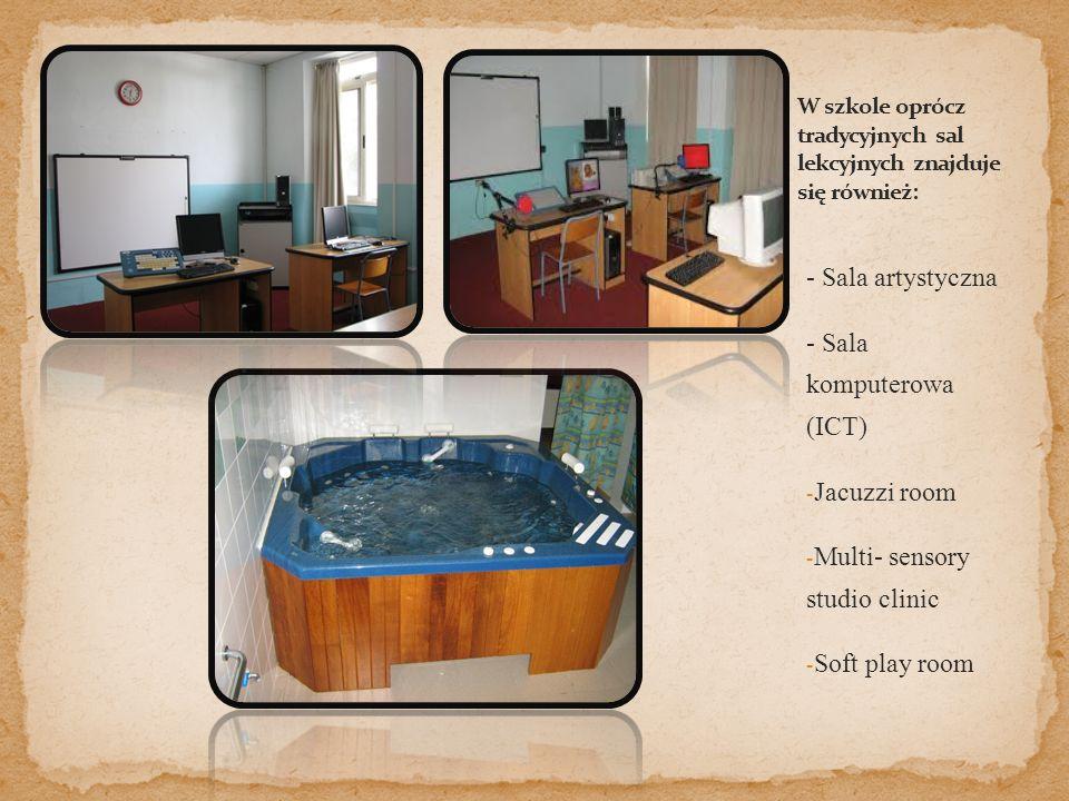 - Sala artystyczna - Sala komputerowa (ICT) - Jacuzzi room - Multi- sensory studio clinic - Soft play room