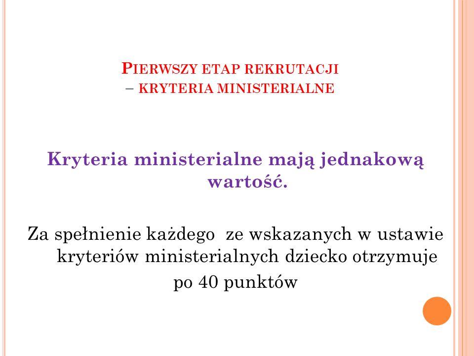 P IERWSZY ETAP REKRUTACJI – KRYTERIA MINISTERIALNE Kryteria ministerialne mają jednakową wartość.