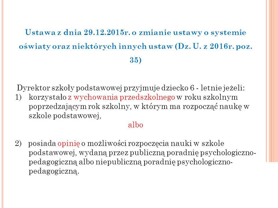 Ustawa z dnia 29.12.2015r.o zmianie ustawy o systemie oświaty oraz niektórych innych ustaw (Dz.