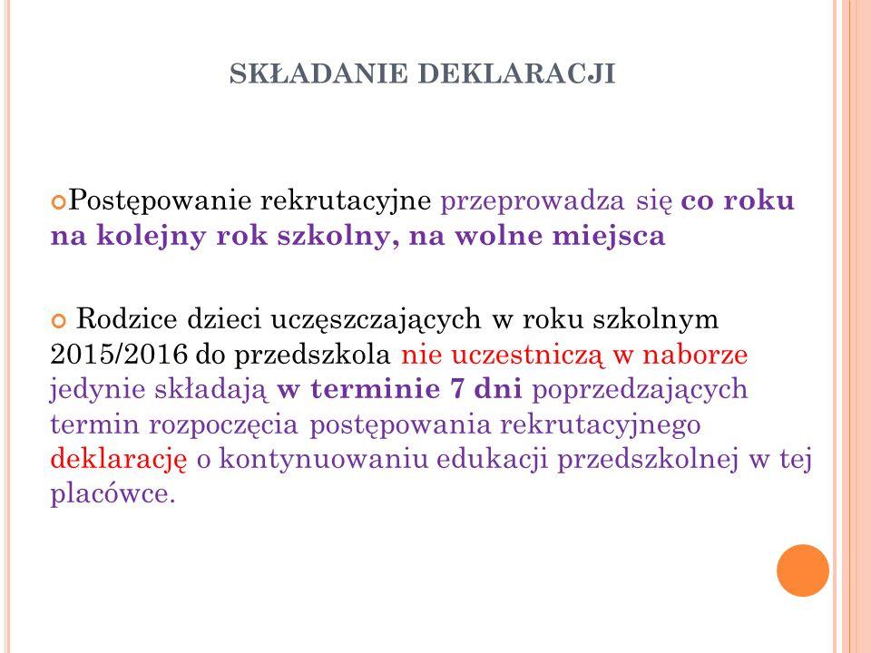 P IERWSZY ETAP REKRUTACJI – KRYTERIA MINISTERIALNE Do publicznego przedszkola przyjmuje się kandydatów zamieszkałych na obszarze danej gminy W przypadku większej liczby kandydatów (zamieszkujących gminę Szczecin) niż wolnych miejsc w pierwszym etapie postępowania rekrutacyjnego są brane pod uwagę łącznie następujące kryteria : 1)wielodzietność rodziny kandydata; 2)niepełnosprawność kandydata; 3)niepełnosprawność jednego z rodziców kandydata; 4)niepełnosprawność obojga rodziców kandydata; 5)niepełnosprawność rodzeństwa kandydata; 6)samotne wychowywanie kandydata w rodzinie; 7) objęcie kandydata pieczą zastępczą