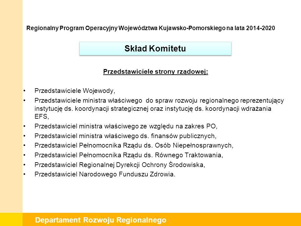 Departament Rozwoju Regionalnego Przedstawiciele strony rządowej: Przedstawiciele Wojewody, Przedstawiciele ministra właściwego do spraw rozwoju regionalnego reprezentujący instytucję ds.