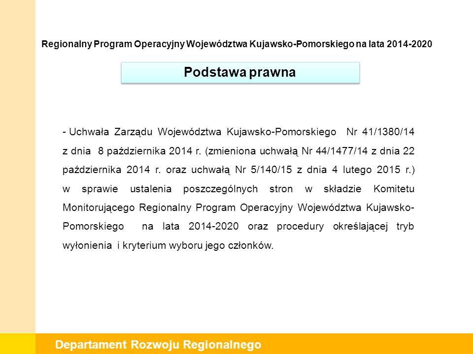 Departament Rozwoju Regionalnego Zgodnie z art.