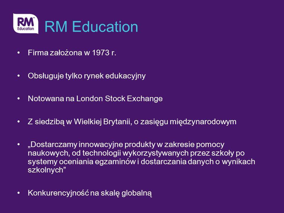 RM Education Firma założona w 1973 r. Obsługuje tylko rynek edukacyjny Notowana na London Stock Exchange Z siedzibą w Wielkiej Brytanii, o zasięgu mię