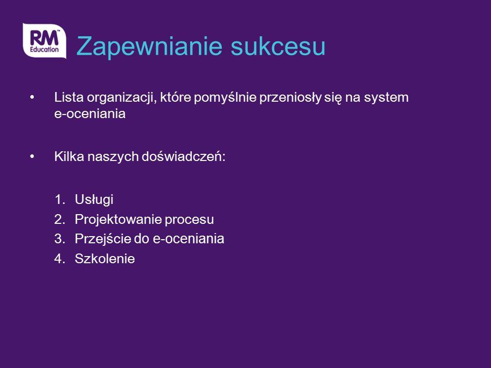 Zapewnianie sukcesu Lista organizacji, które pomyślnie przeniosły się na system e-oceniania Kilka naszych doświadczeń: 1.Usługi 2.Projektowanie procesu 3.Przejście do e-oceniania 4.Szkolenie
