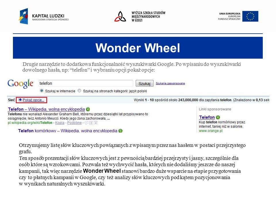 Wonder Wheel Drugie narzędzie to dodatkowa funkcjonalność wyszukiwarki Google.