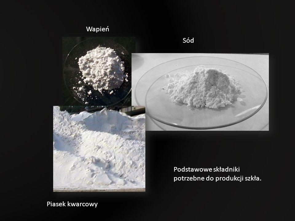 Podstawowe składniki potrzebne do produkcji szkła. Piasek kwarcowy Wapień Sód
