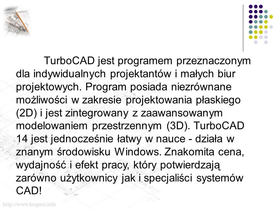 TurboCAD jest programem przeznaczonym dla indywidualnych projektantów i małych biur projektowych.