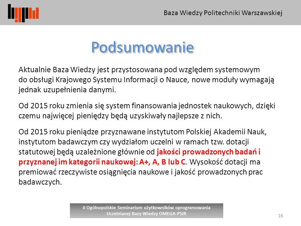 Baza Wiedzy Politechniki Warszawskiej 16 Podsumowanie Aktualnie Baza Wiedzy jest przystosowana pod względem systemowym do obsługi Krajowego Systemu Informacji o Nauce, nowe moduły wymagają jednak uzupełnienia danymi.