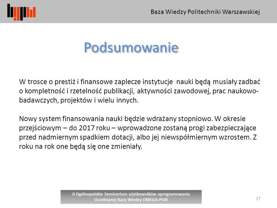 Baza Wiedzy Politechniki Warszawskiej 17 Podsumowanie W trosce o prestiż i finansowe zaplecze instytucje nauki będą musiały zadbać o kompletność i rzetelność publikacji, aktywności zawodowej, prac naukowo- badawczych, projektów i wielu innych.